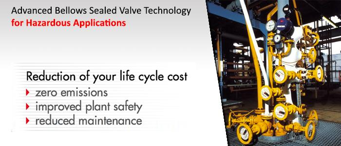 Sealed valves zero emission, improved plant safety, reducy maintenance